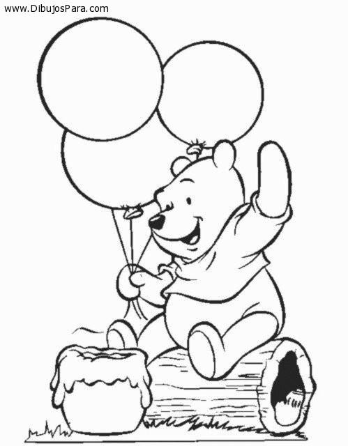Colorear Winnie Pooh sentado con globos | Dibujos de Winnie Pooh ...
