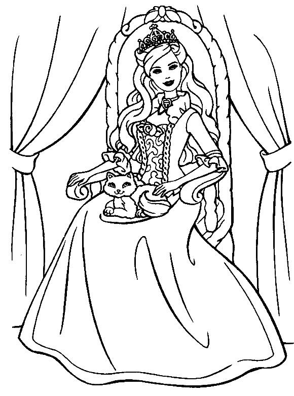 Dibujo de Princesa con su mascota   Dibujos de Princesas para Pintar ...