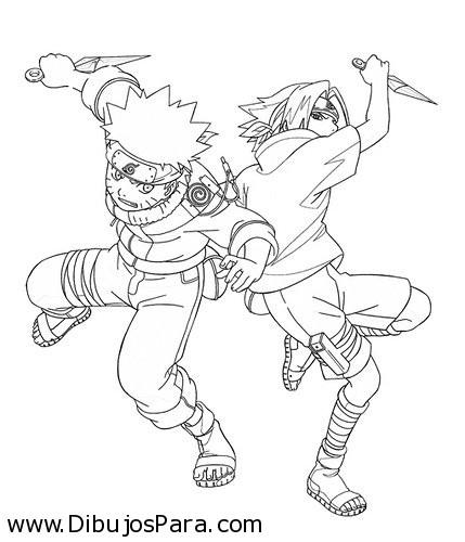 Dibujo De Naruto Luchando Dibujos Para Colorear
