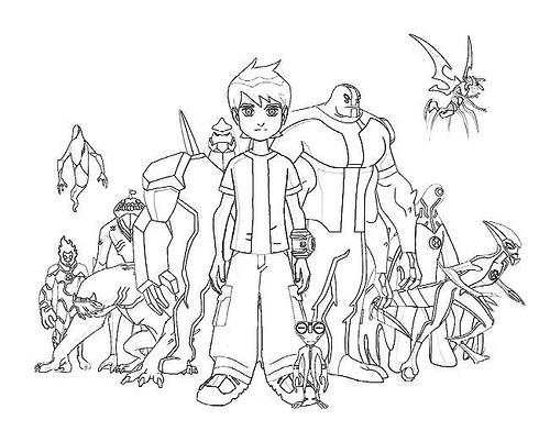 Dibujo Para Colorear De Heihei El Personaje De La: Dibujos De Ben 10 Para Colorear
