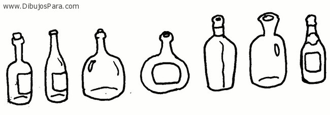 Dibujo de botellas de vidrio  Dibujos de Botellas para Pintar