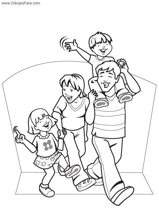 Dibujo de familia caminando  Dibujos de Familias para Pintar