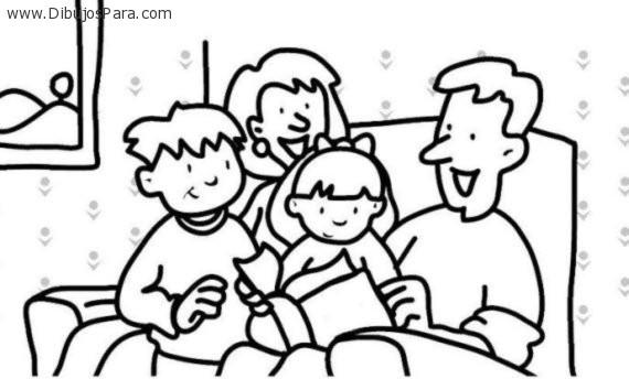 Dibujos de Familia leyendo | Dibujos de Familias para Pintar ...