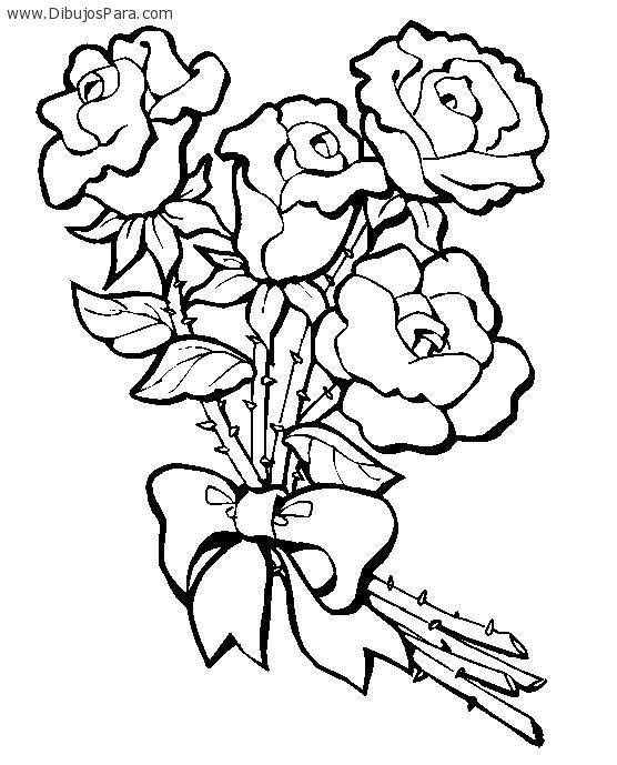 Dibujo de Ramo de Rosas para colorear | Dibujos de Flores para ...