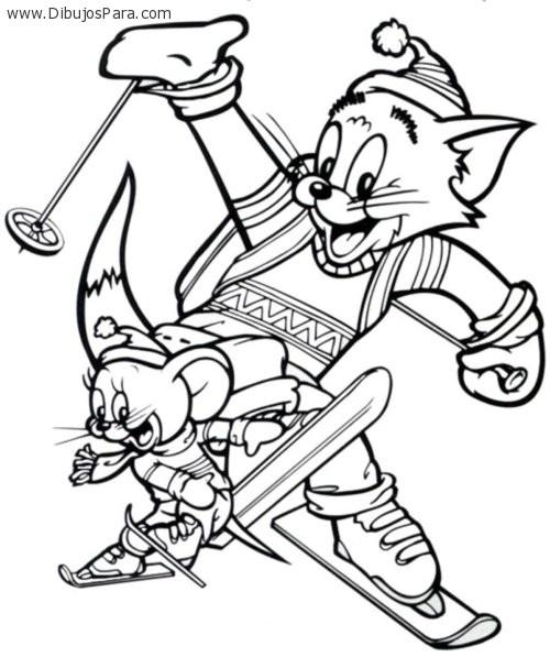Dibujo de Tom y Jerry esquiando | Dibujos de Tom y Jerry para Pintar ...