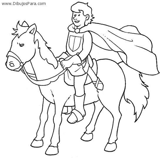 Dibujo De Principe Montado A Caballo Para Colorear Dibujos Para