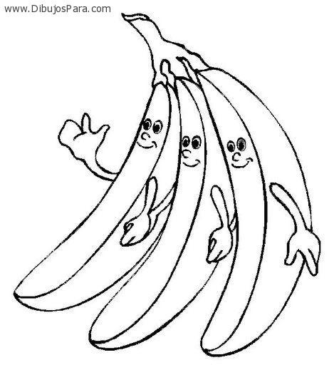 Dibujo de Bananas sonriendo | Dibujos de Bananas para Pintar ...