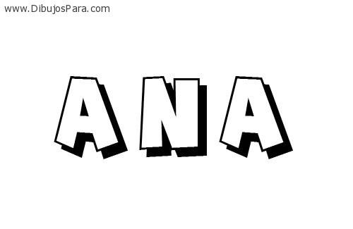 Dibujo de Ana | Dibujos de Nombres para Pintar | Dibujos para Colorear