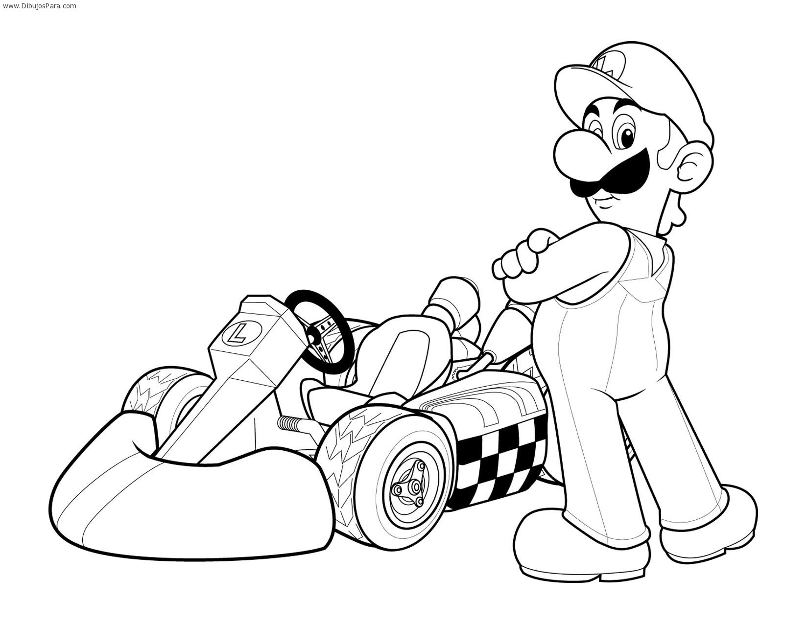 ... de Luigi | Dibujos de Karting para Pintar | Dibujos para Colorear