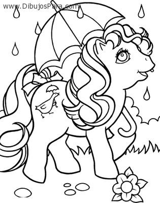 Dibujo de Pony con Paragua  Dibujos de Caballos para Pintar