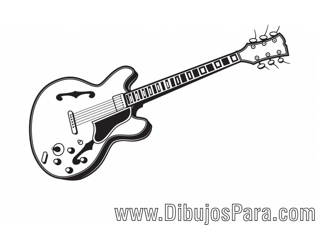 Dibujo de guitarra elctrica para colorear y pintar  Dibujo de