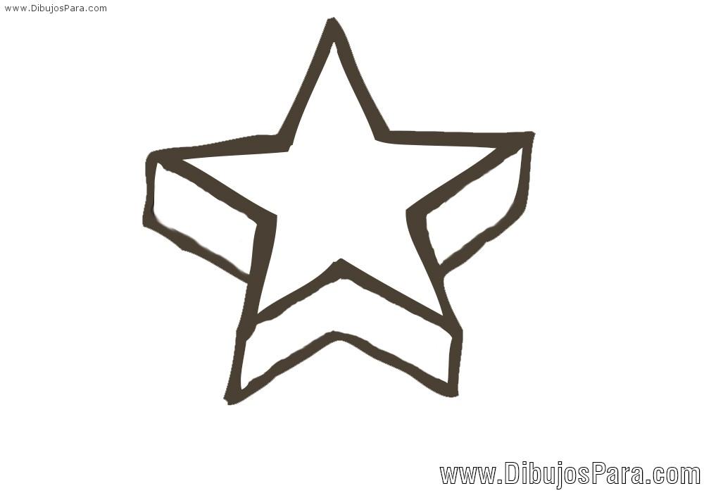 Dibujo de Estrella en perspectiva  Dibujos de Estrellas para