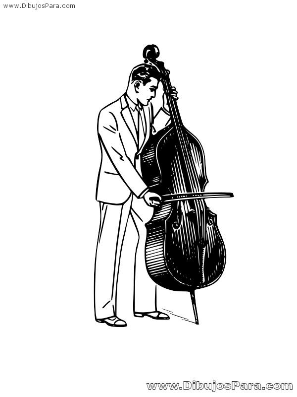 Dibujo de Músico Contrabajista