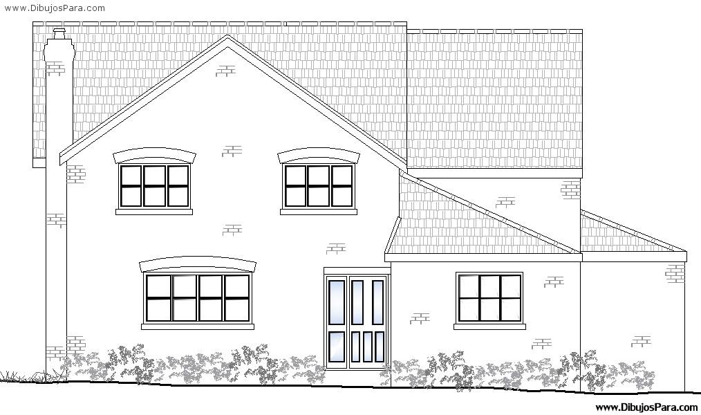 Dibujo de casa de dos pisos para pintar dibujos para for Fachadas de casas modernas para colorear