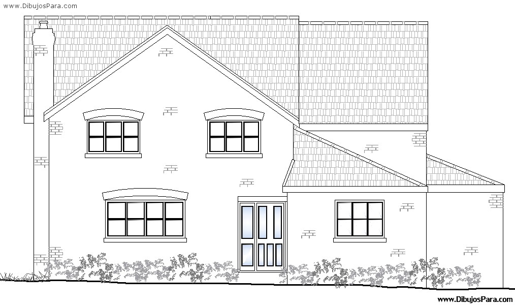 Dibujo de casa de dos pisos para pintar dibujos para colorear - Imagenes de casas para dibujar ...