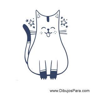 Dibujo de Gato fácil para pintar