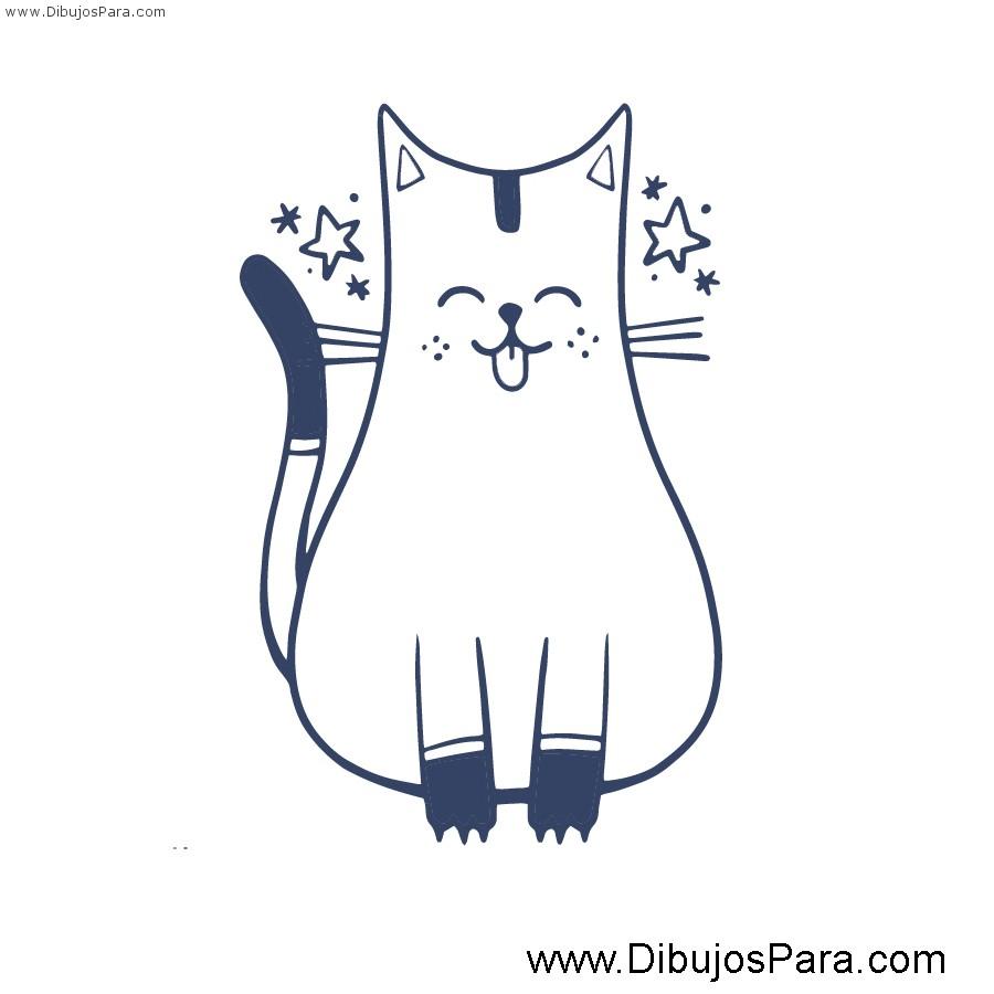 Dibujo de Gato fácil para pintar | Dibujos de Gatos para Pintar ...